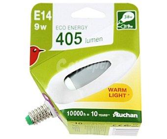 Auchan Bombilla bajo consumo vela 9 Watios, casquillo E14 (fino), luz cálida 1 unidad