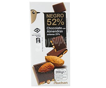Auchan Tableta Chocolate 52 % Fondant, 25% Almendra Entera 200 g