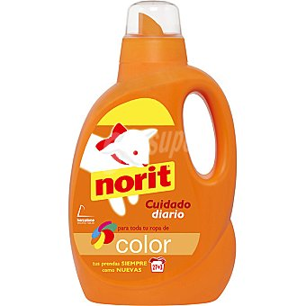 Norit Detergente máquina líquido cuidado diario para ropa de color Botella 27 dosis