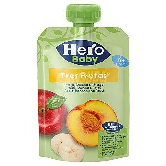 Hero Baby Bolsita 3 frutas (plátano, manzana y melocotón) a partir de 4 meses 100 g