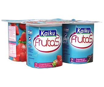 KAIKU Yogur sin lactosa con fresas y mora Pack 4x125 gramos