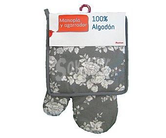 Auchan Conjunto de algodón, manopla y agarrador de cocina estampado floral gris claro 1 Unidad