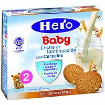 Hero Leche de continuación con cereales-galleta Pack 2x250 g