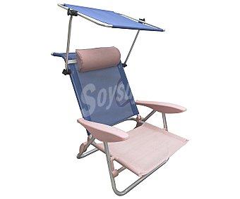 IKUNIK Silla de playa plegable con protector solar muy práctica para transportar, color azul o naranja, ikunik