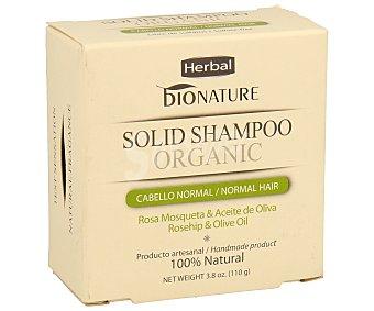 BIONATURE Champú en pastilla para cabello normal con rosa mosqueta y aceite de oliva 100 gramos
