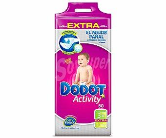 Dodot Activity Pañales talla 3+ (4 a 10 kilogramos) Paquete 60 u