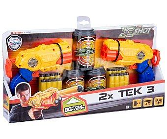 Xshot Dos lanzadores, más 3 latas-objetivo, más 16 dardos, 2x Tek3 x-shot