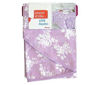AUCHAN Mantel redondo estampado floral color violeta, 100% algodón, 150 centímetros 1 Unidad