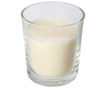 Auchan Vela con olor a vainilla en vaso transparente color marfil 1 unidad
