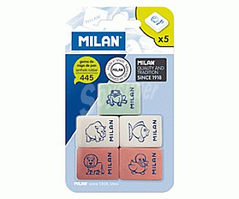 Milan Lote de 5 gomas de borrar del tipo miga de pan, rectangulares, de diferentes colores y con dibujitos de animales, modelo Nº 455 1 unidad