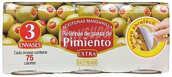 Hacendado Aceituna rellena pimiento Lata pack 3