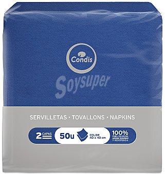 Condis Servilleta azul 40X40 50 UNI