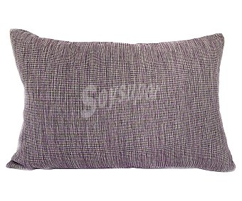 Auchan Cojín cheviot liso jaspeado color morado con decoración de lazos, cierre de cremallera, 30x50 centímetros 1 unidad
