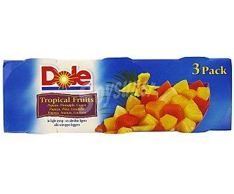 Dole Cocktail de frutas tropicales en almíbar Pack 3 Unidades de 139 Gramos