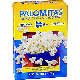 Hipercor Palomitas con sal Pack 3 envases 100 g