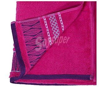 Actuel Toalla para ducha 100% algodón color rosa con cenefa geométrica, densidad de 450 gramos/metro², 70x140 centímetros 1 unidad