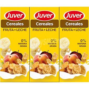 JUVER Cereales Zumo de fruta con leche 0% Materia Grasa Pack 6 envases 200 ml