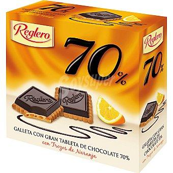 Reglero Galleta con gran tableta de chocolate 70% con trozos de naranja Estuche 140 g