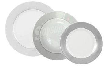 Plata Conjunto Vajilla Mod. PUNTITOS GRIS 18 piezas en porcelana decorada 1 ud