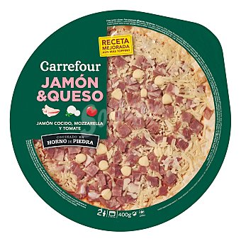 Carrefour Pizza fresca de jamón y queso 400 g