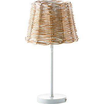 ELS BANYS Lámpara de sobremesa de mimbre en color blanco decapado