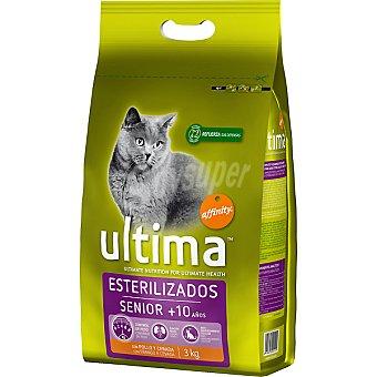 Ultima Affinity Alimento para gatos esterilizados de + 10 años con pollo y cebada Senior paquete 3 kg