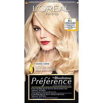 Preference L'Oréal Paris Tinte Les Blondissimes rubio natural nº 01con elixir brillo intenso coloración permanente Caja 1 unidad