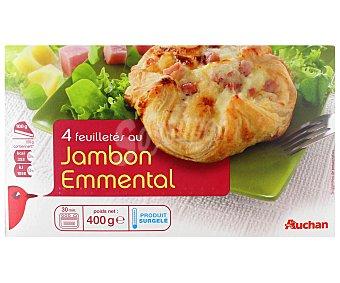 Auchan Hojaldres rellenos de jamón cocido y queso emmental 400 gramos