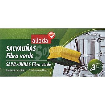 Aliada Estropajo salvauñas con fibra verde Envase 3 unidades