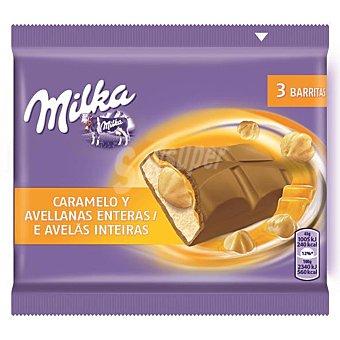 Milka Barritas de caramelo y avellanas 3 unidades (129 g)