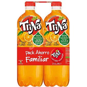 TRINA refresco de naranja sin burbujas (Pack Ahorro Familiar) pack 2 botella 2,25 l