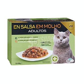 Delikuit Comida gato adultos bocaditos salsa carne (6 cordero y pollo, 6 conejo y pavo) Caja pack 12 x 100 g - 1200 g