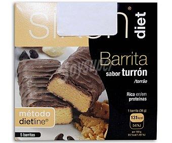 SIKENDIET Barritas sabor turrón 5 Unidades de 36 g