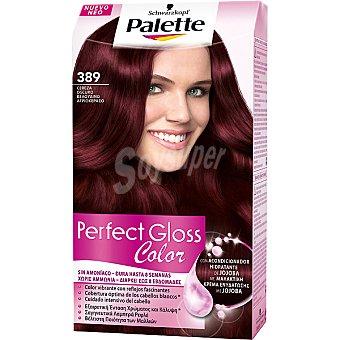 Palette Schwarzkopf Tinte Perfect Gloss Color nº 389 cereza oscuro con acondicionador de jojoba sin amoniaco Caja 1 unidad
