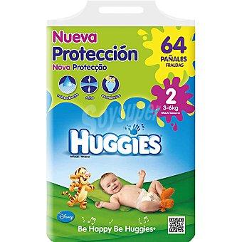 HUGGIES Nueva Protección pañales de 3 A 6 kg talla 2 paquete 64 unidades