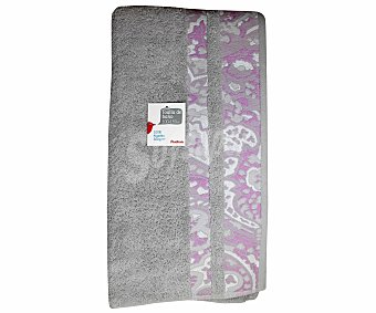 Auchan Toalla de baño, cenefa estampada color gris, 100x150 centímetros 1 Unidad