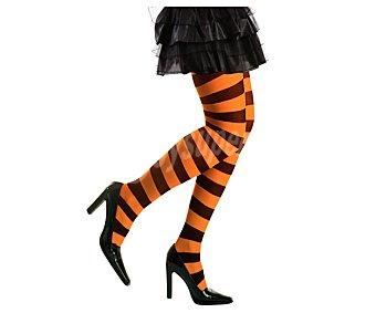 WIDMANN Medias adulto 70 Den. a rayas naranjas y negras para disfraz de bruja Halloween, talla única Medias Bruja