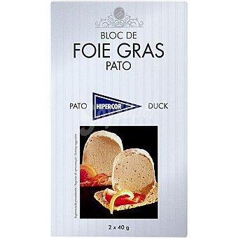 Hipercor Bloc de foie gras de pato 2 porciones de 40 g envase 80 g 40 g