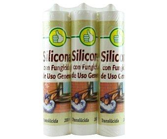 Productos Económicos Alcampo Silicona translúcida con fungicida 3 Unidades de 280 Mililitros