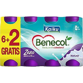 KAIKU BENECOL ZERO Yogur líquido natural pack 6 unidades 65 ml + 2 unidades gratis Pack 6 unidades 65 ml
