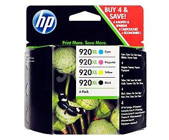 HP Pack de cartuchos de tinta 920XL, cian, magenta, amarillo y negro, compatible con impresoras: Officejet 6000 / 7000, Officejet 6500 / 6500A.