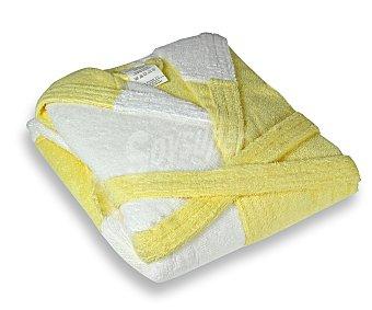 PRODUCTO ECONÓMICO ALCAMPO Albornoz rizo infantil color blanco y amarillo, 340 gramos/m², talla 8 años 1 Unidad