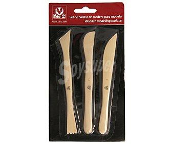 SIO-2 Lote de 3 útiles de madera para modelar arcilla 1 unidad