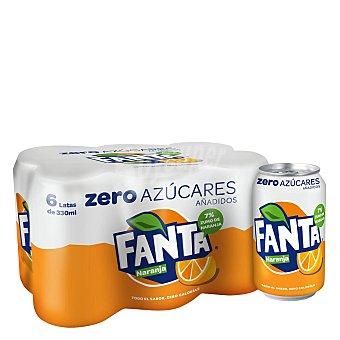 Fanta Refresco Zero de naranja con gas Pack 6 latas x 33 cl