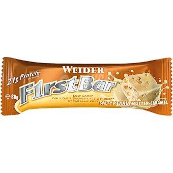 WEIDER First Bar  proteína sabor cacahuete y caramelo baja en carbohidratos y azúcar envase 60 g barrita 21g
