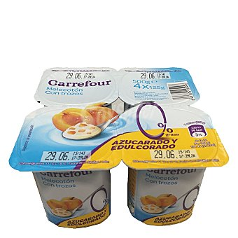 Carrefour Yogur desnatado con melocotón 0% MG Pack 4x125 g