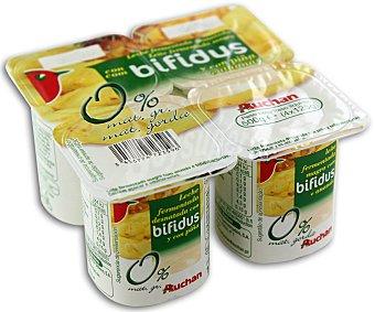 Auchan Yogur sin grasas con bifidus y piña (leche fermentada desnatada con piña y bifidobacterias. Con azúcar y edulcorantes) Pack de 4 unidades 125 gramos