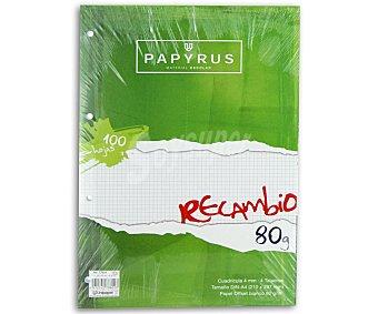 PAPYRUS Recambio A4 100H Cuad 100 hojas