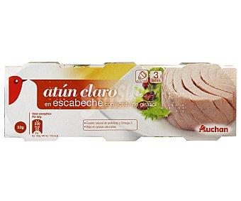 Auchan Atún claro en escabeche Lata de 52 gramos pack de 3