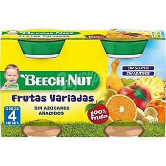 Beech-Nut Tarrito frutas variadas 100% fruta sin gluten y sin azúcares añadidos  Pack 2 x 130 g